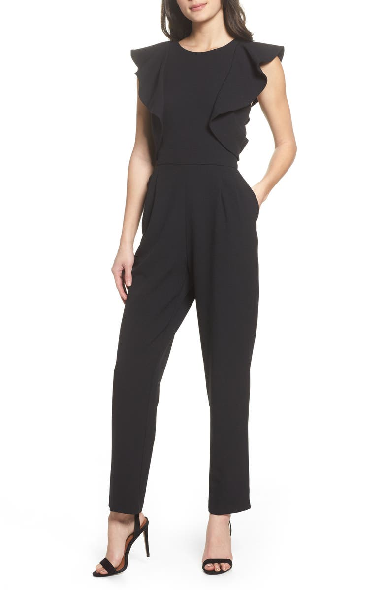 CHELSEA28 Ruffle Jumpsuit, Main, color, 001