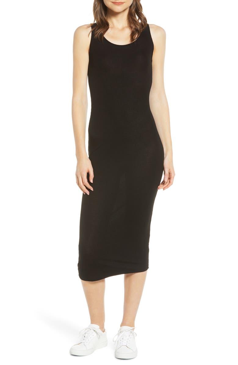 AG Viden Ribbed Tank Dress, Main, color, TRUE BLACK