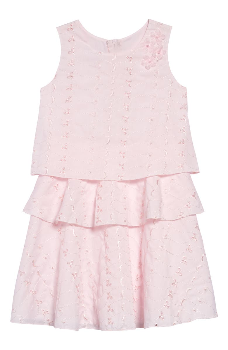 FRAIS Tiered Eyelet Embroidered Dress, Main, color, PINK