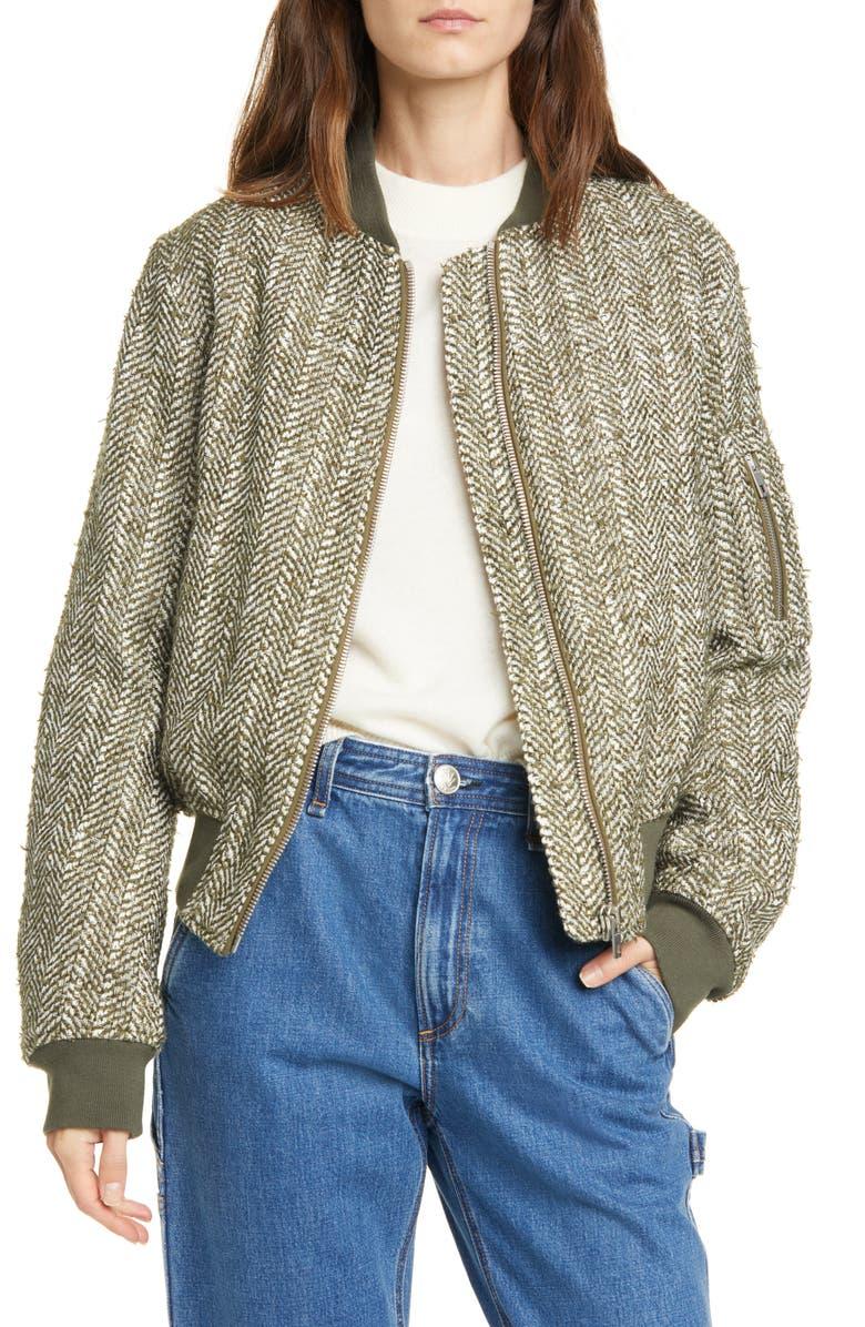 RAG & BONE Manston Herringbone Wool Blend Bomber Jacket, Main, color, 300