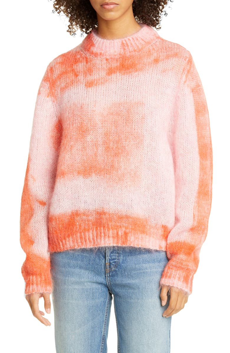 ROSEANNA Crop Mohair Blend Sweater, Main, color, MULTI ORANGE