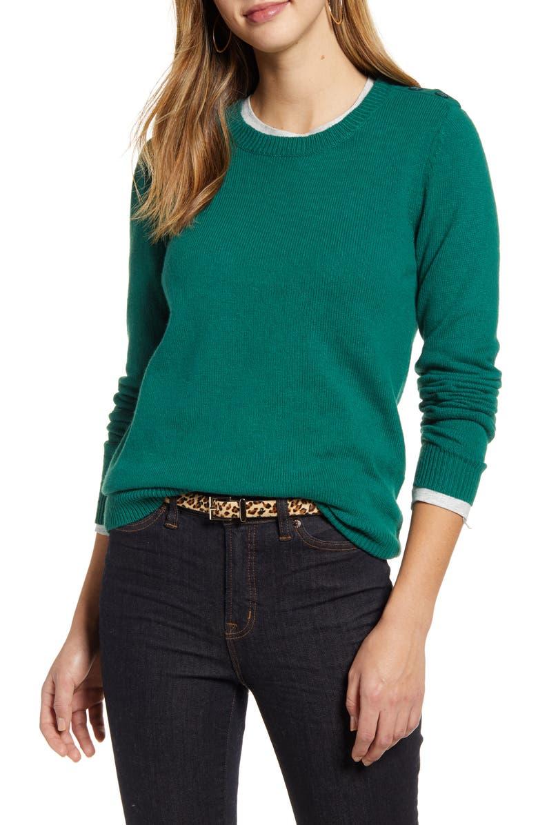 1901 Shoulder Button Cotton & Wool Blend Crewneck Sweater, Main, color, 301