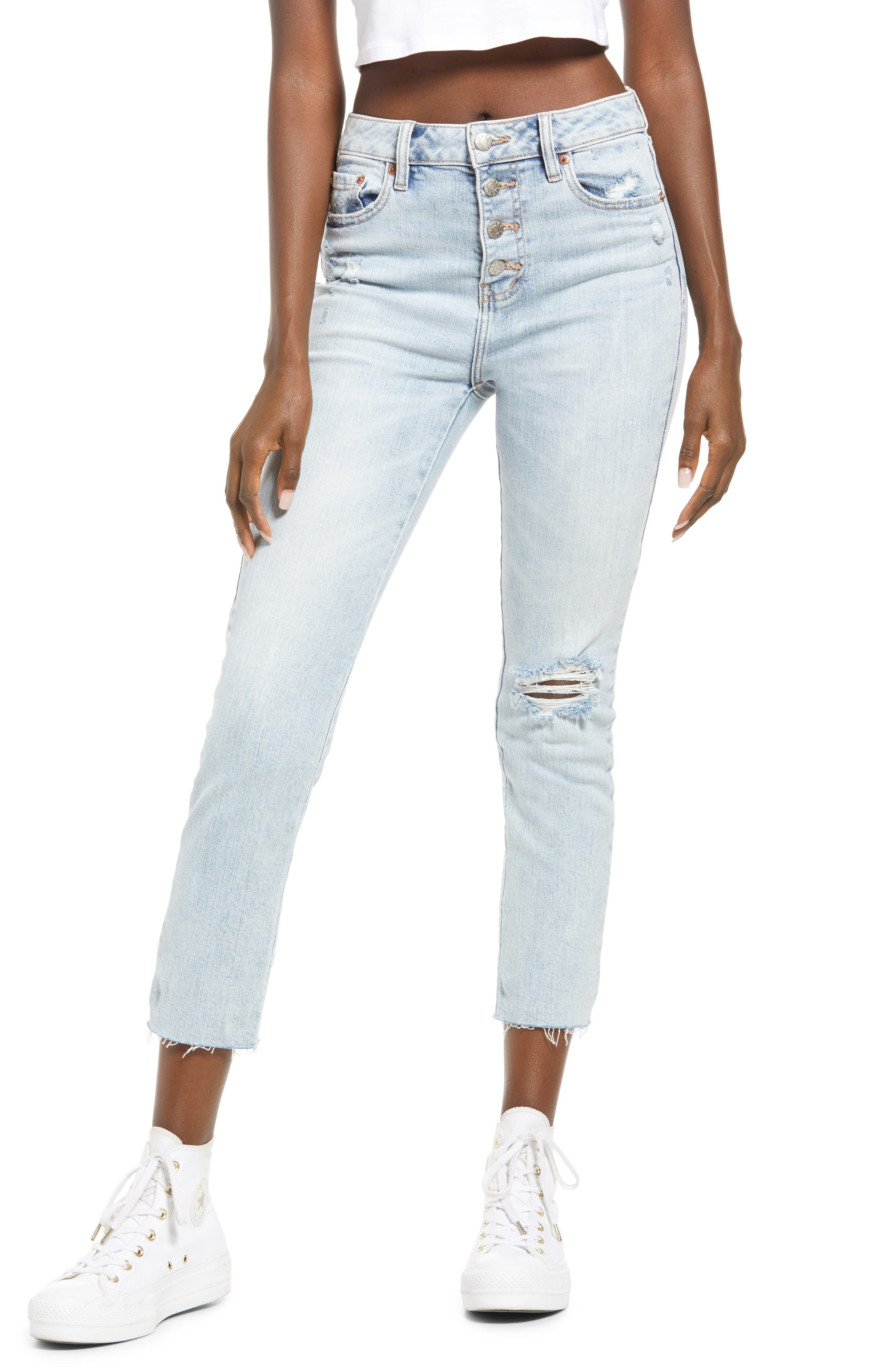 Daily Driver High Waist Button Fly Straight Leg Jeans