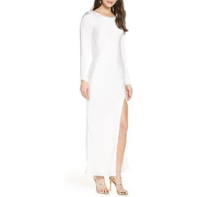 Bardot River Bias Long Sleeve Open Back Satin Dress, White