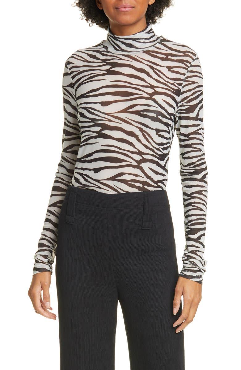 STAUD Helvin Tiger Stripe Turtleneck Top, Main, color, ZEBRA