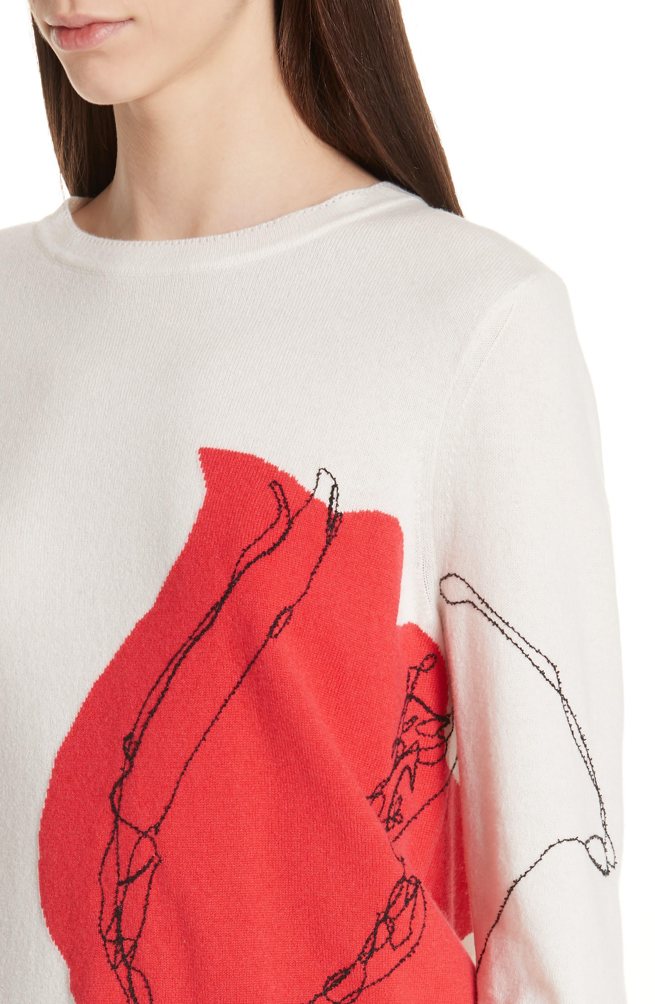 ,                             Intarsia Knit Cashmere Jersey Sweater,                             Alternate thumbnail 5, color,                             CREAM/ CRIMSON