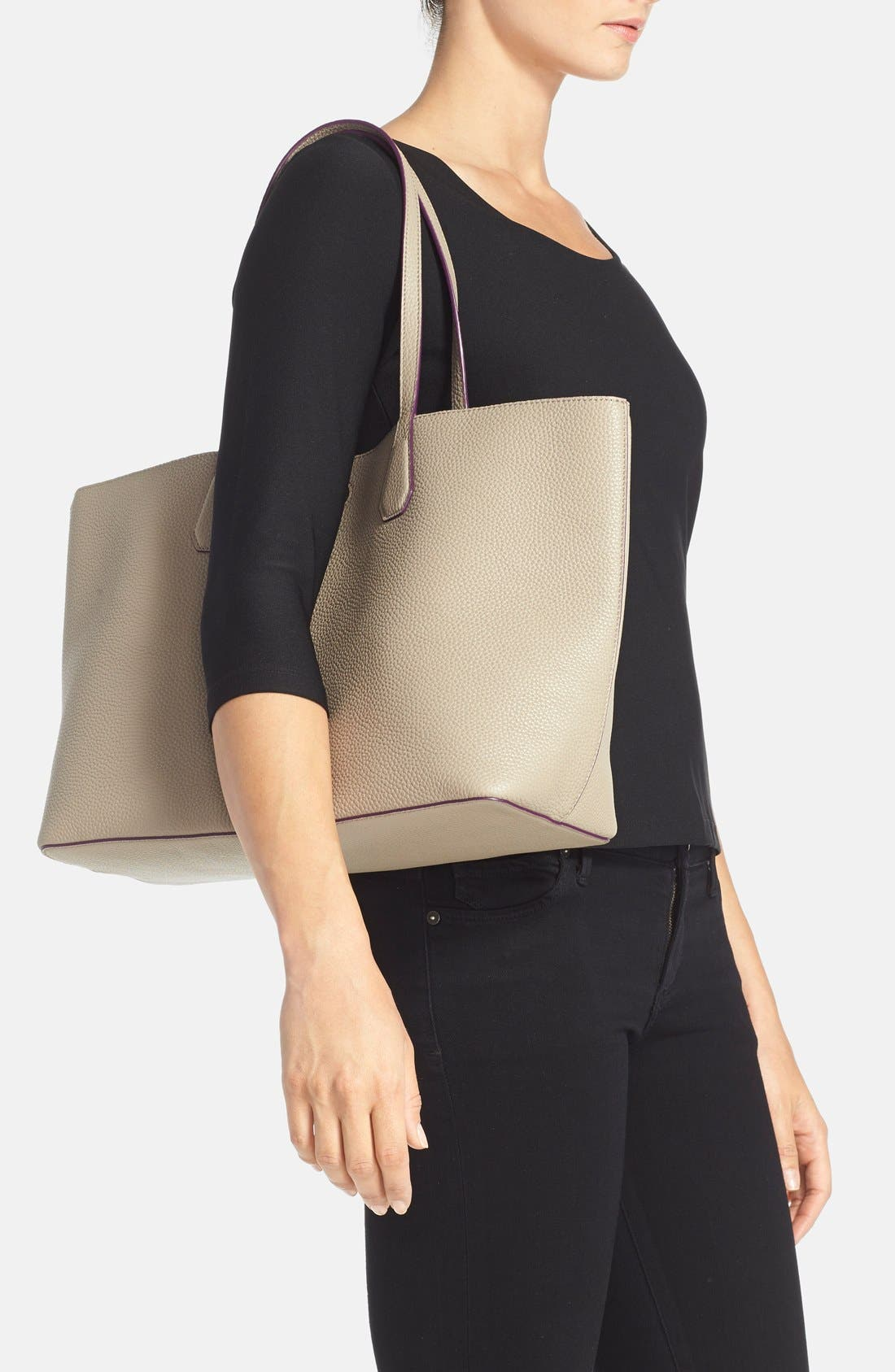 ,                             'Perry' Leather Tote,                             Alternate thumbnail 4, color,                             020