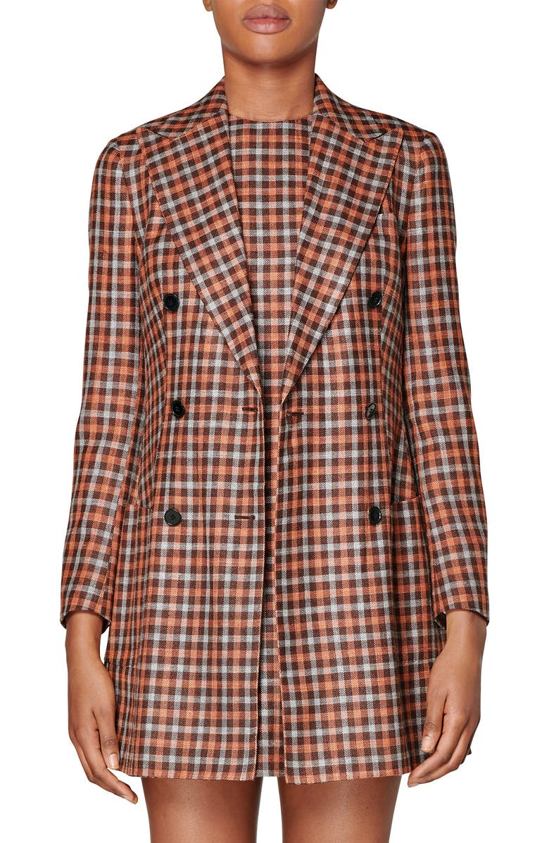 SUISTUDIO Joss Check Double Breasted Wool & Silk Long Jacket, Main, color, BROWN CHECKED