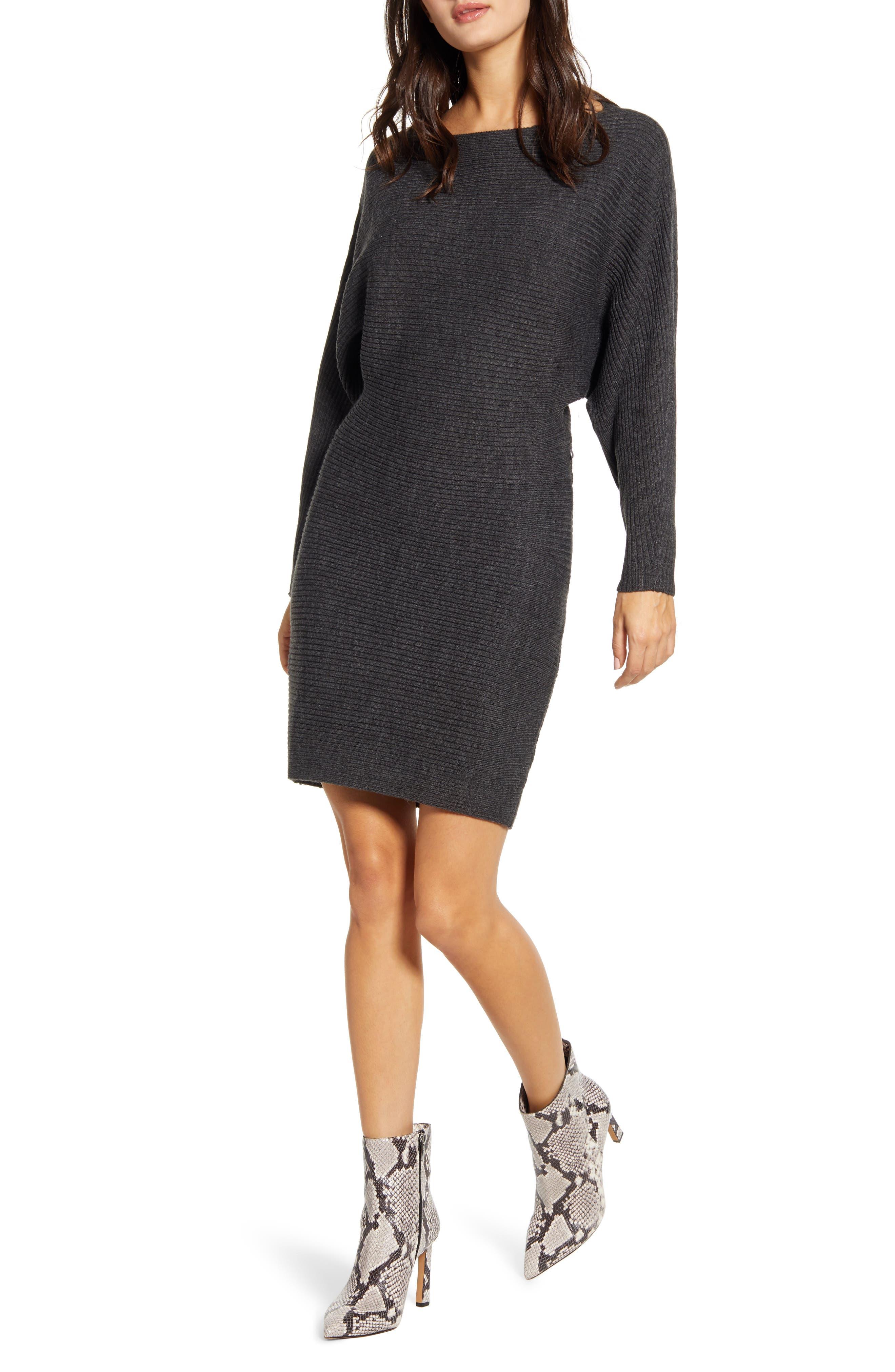 All in Favor Dolman Sleeve Sweater Dress