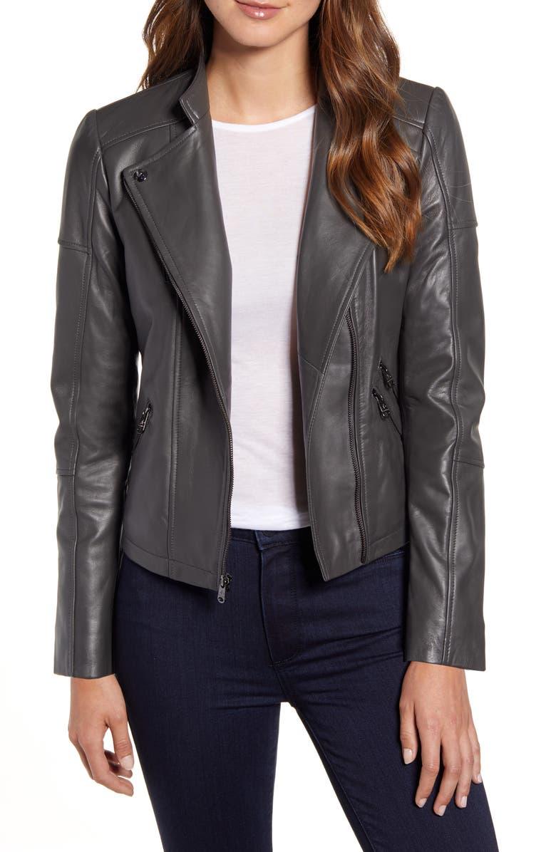 SAM EDELMAN Lambskin Leather Moto Jacket, Main, color, 020