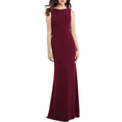 Dessy Collection Crepe Trumpet Gown, Burgundy