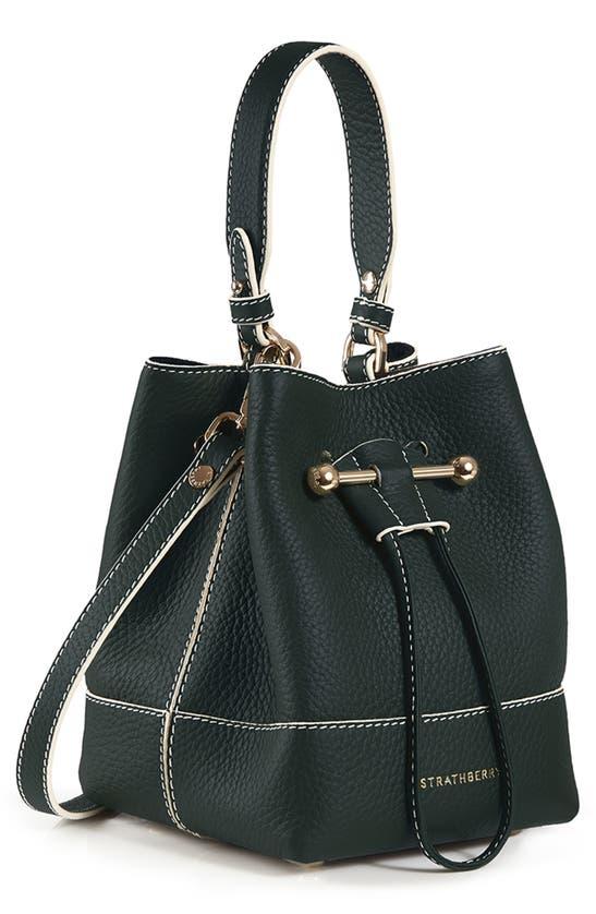 Strathberry Lana Osette Leather Crossbody Bucket Bag In Bottle Green - Vanilla Stitch