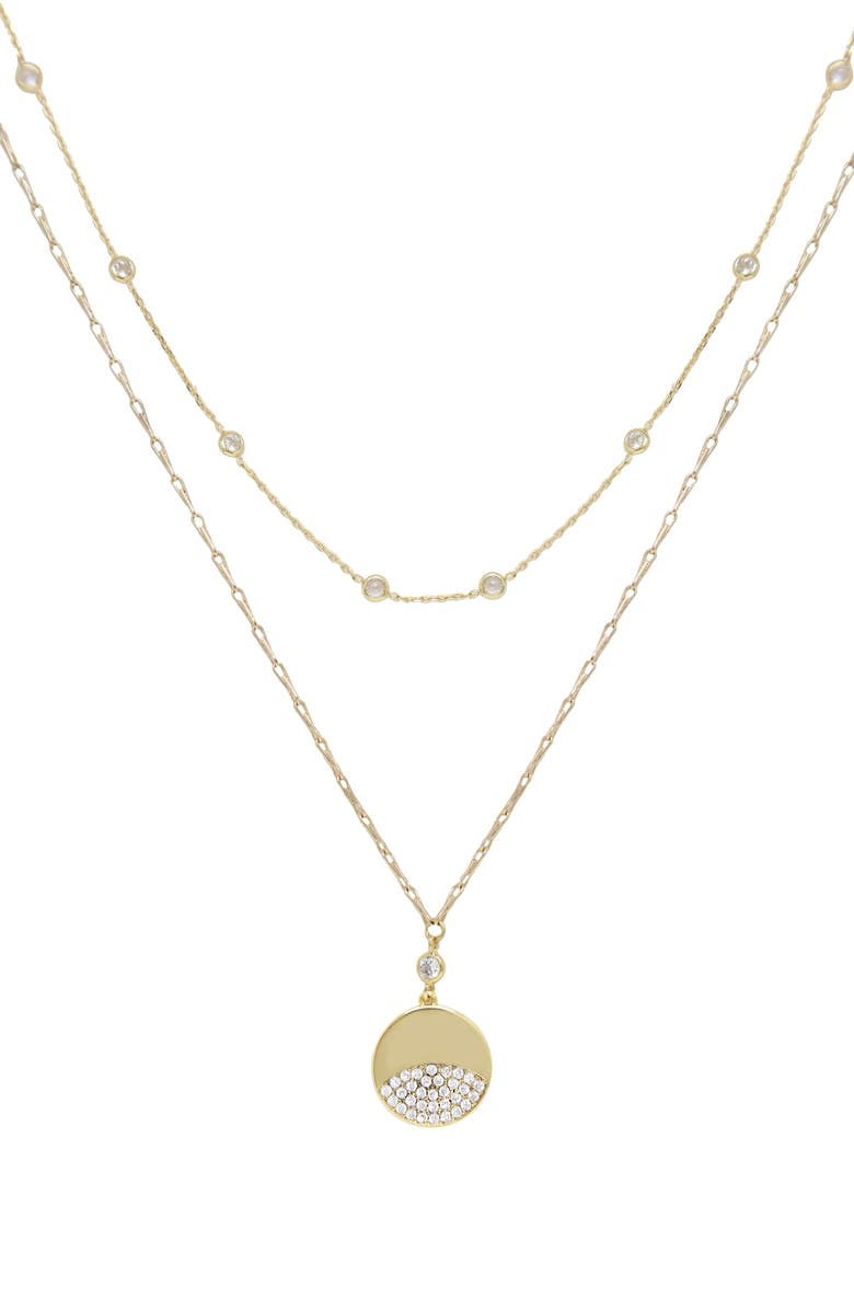 ETTIKA Set of 2 Crystal Necklaces, Main, color, GOLD