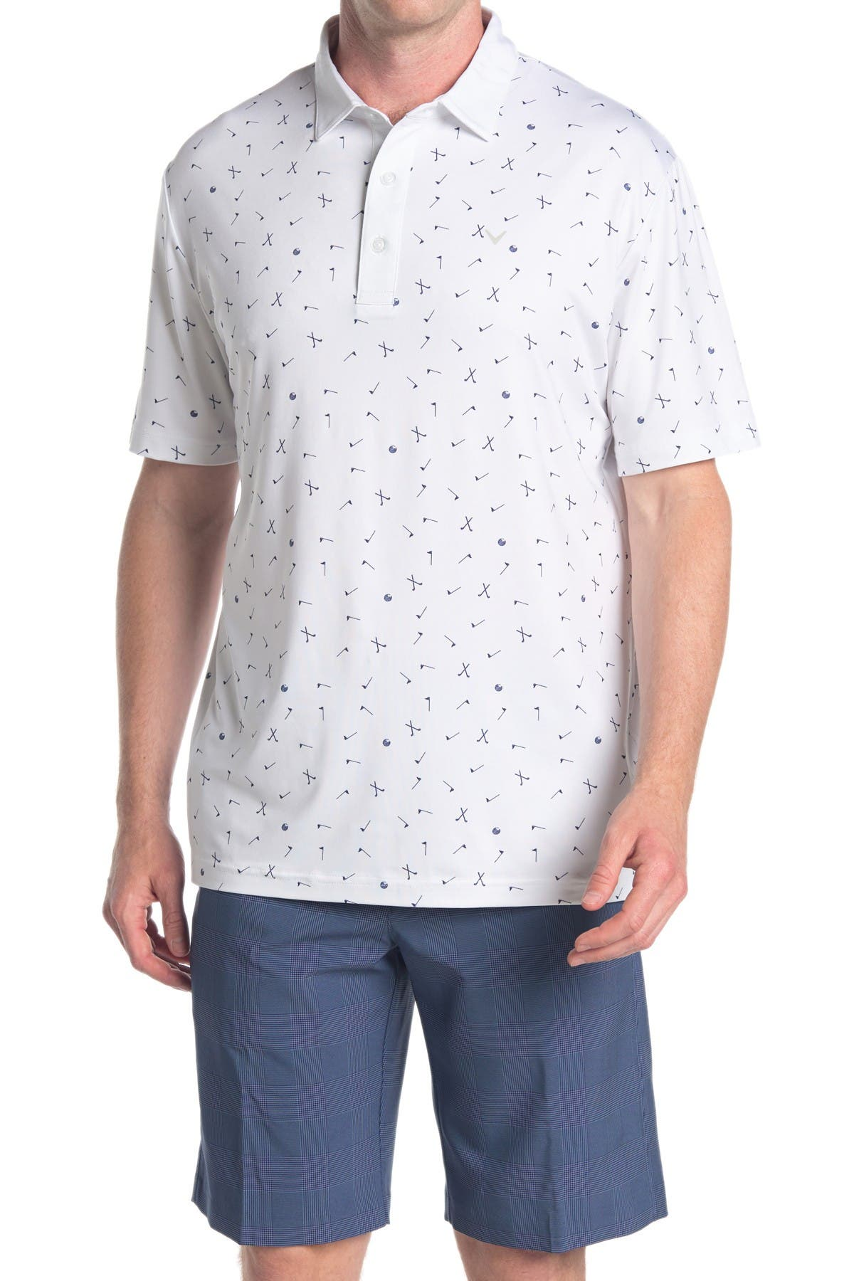 Image of CALLAWAY GOLF Golf Print Short Sleeve Polo