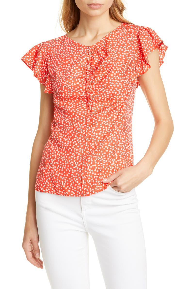 REBECCA TAYLOR Malia Floral Top, Main, color, CHERRY