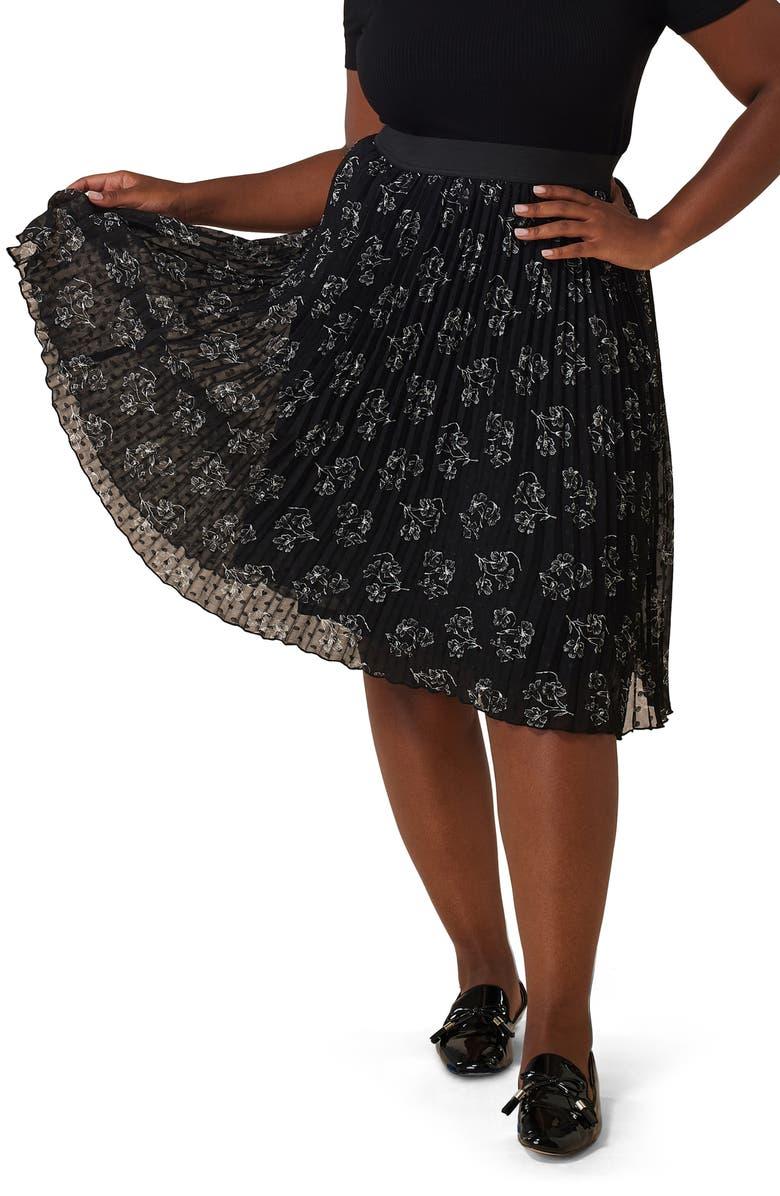 MARÉE POUR TOI Pleated Floral Chiffon Skirt, Main, color, 001