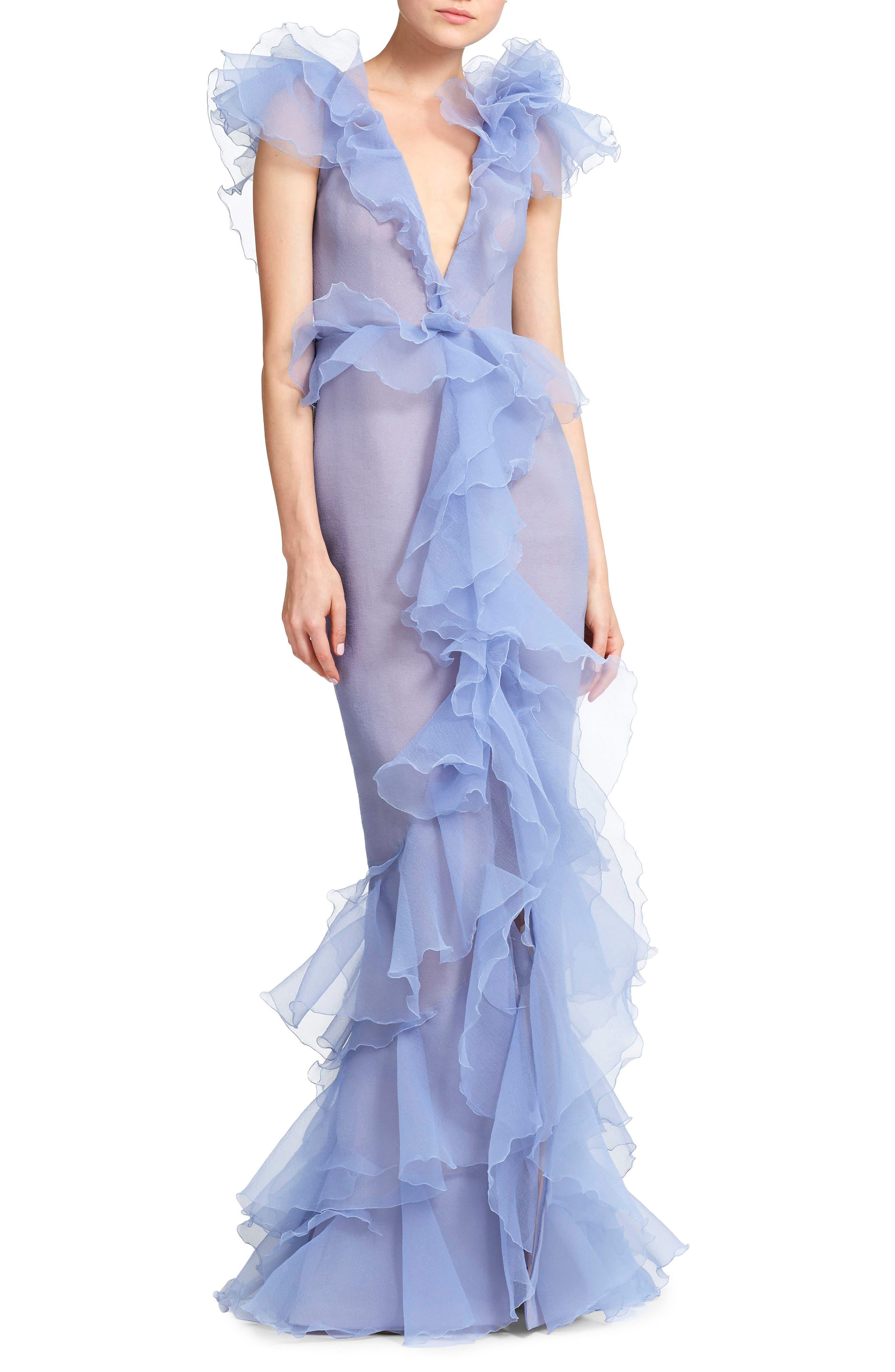 Marchesa Ruffled Organza Evening Dress, Purple