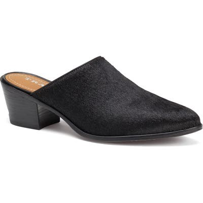 Trask Teresa Genuine Calf Hair Mule- Black