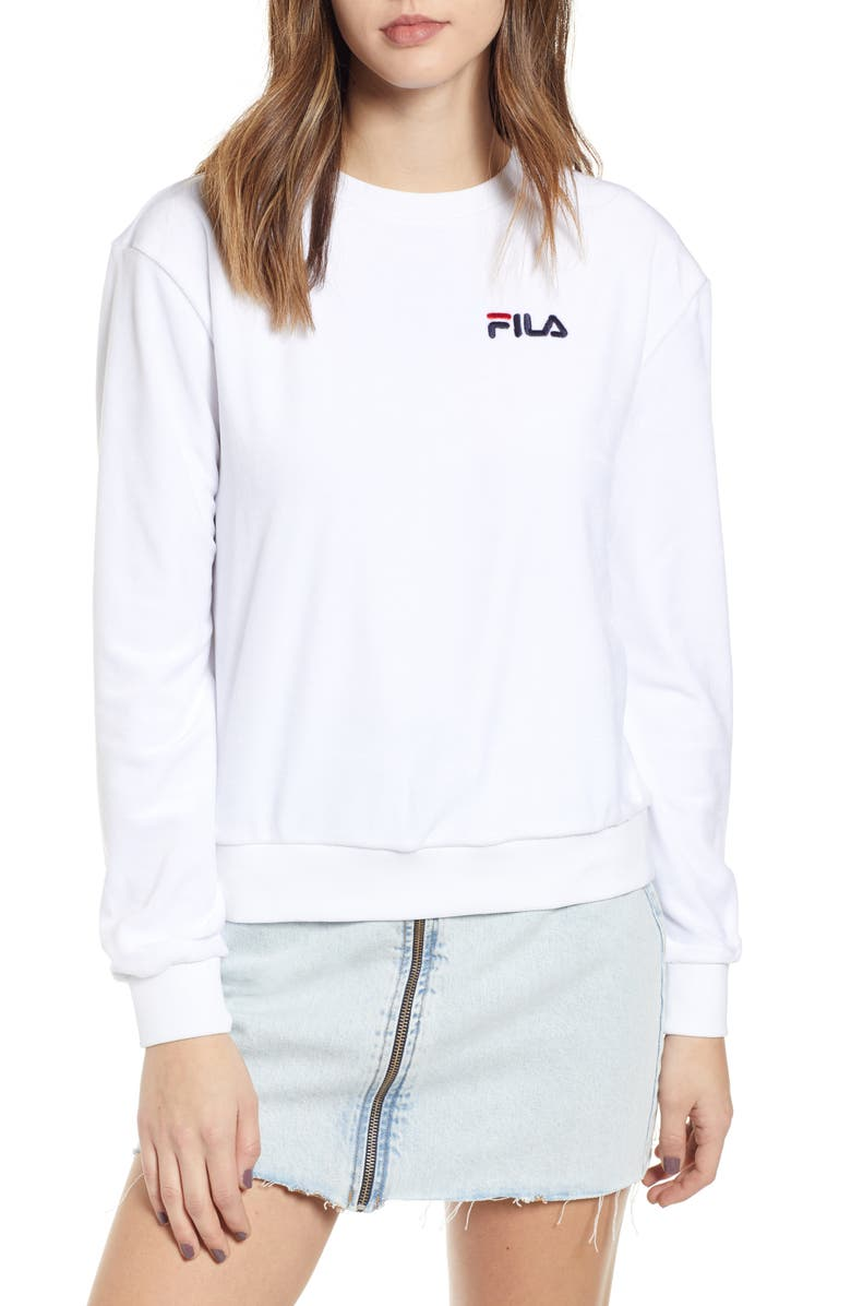 FILA Emilia Velour Sweatshirt, Main, color, 100