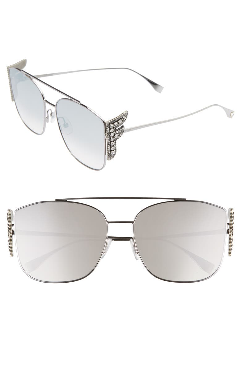 FENDI 62mm Oversize Mirrored Flat Front Sunglasses, Main, color, RUTHENIUM/ GREY
