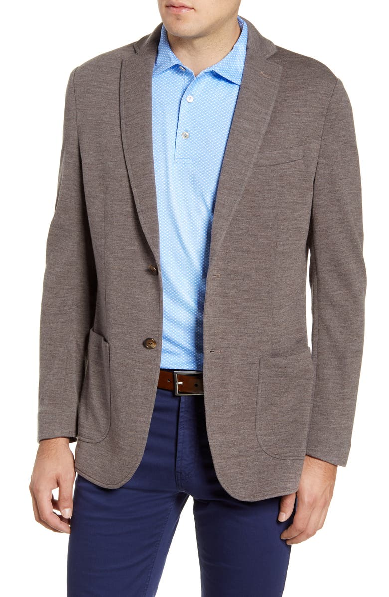 PETER MILLAR Crown Classic Knit Wool Blend Sport Coat, Main, color, GRAIN