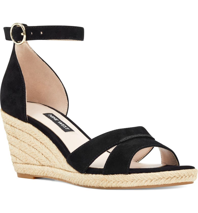 NINE WEST Jeranna Espadrille Wedge Sandal, Main, color, 001