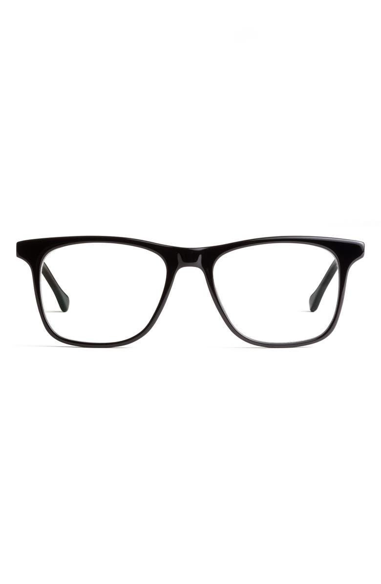 FELIX GRAY Jemison 52mm Square Blue Light Blocking Glasses, Main, color, BLACK/ CLEAR