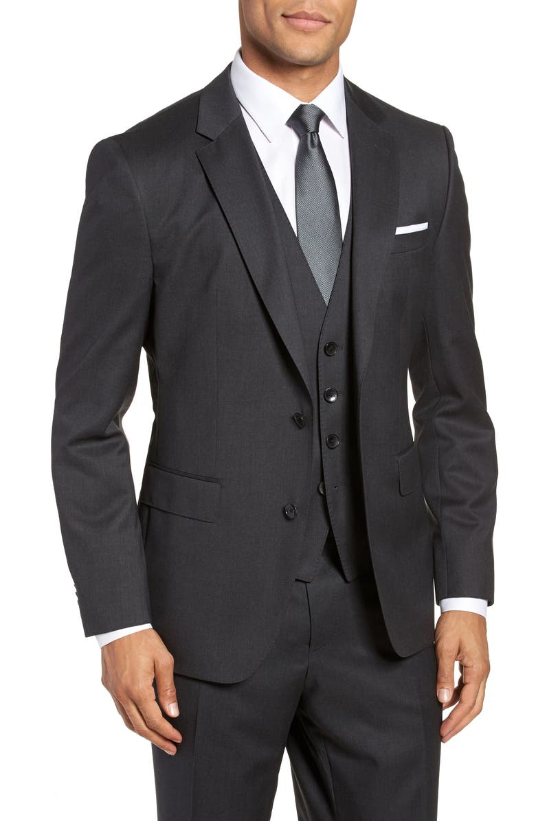 BOSS Johnstons CYL Classic Fit Solid Wool Sport Coat, Main, color, DARK GREY