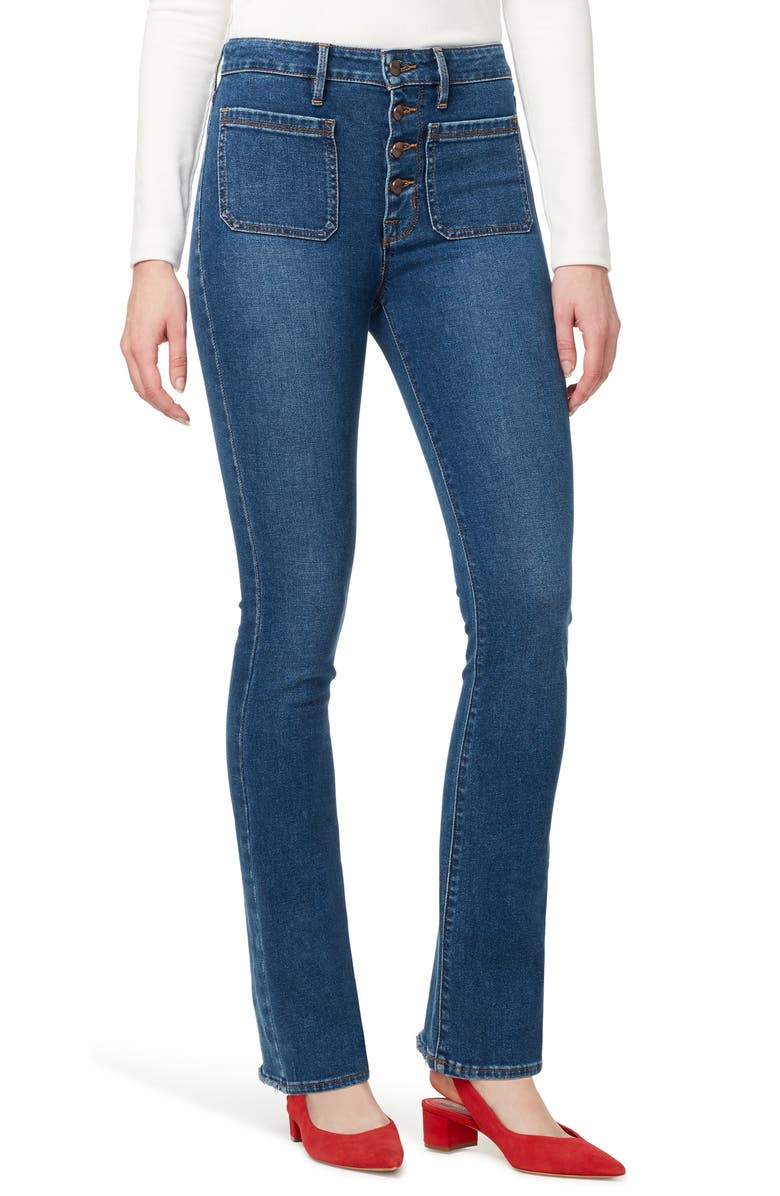 SANCTUARY High Waist Demi Boot Cut Jeans, Main, color, LINDEN