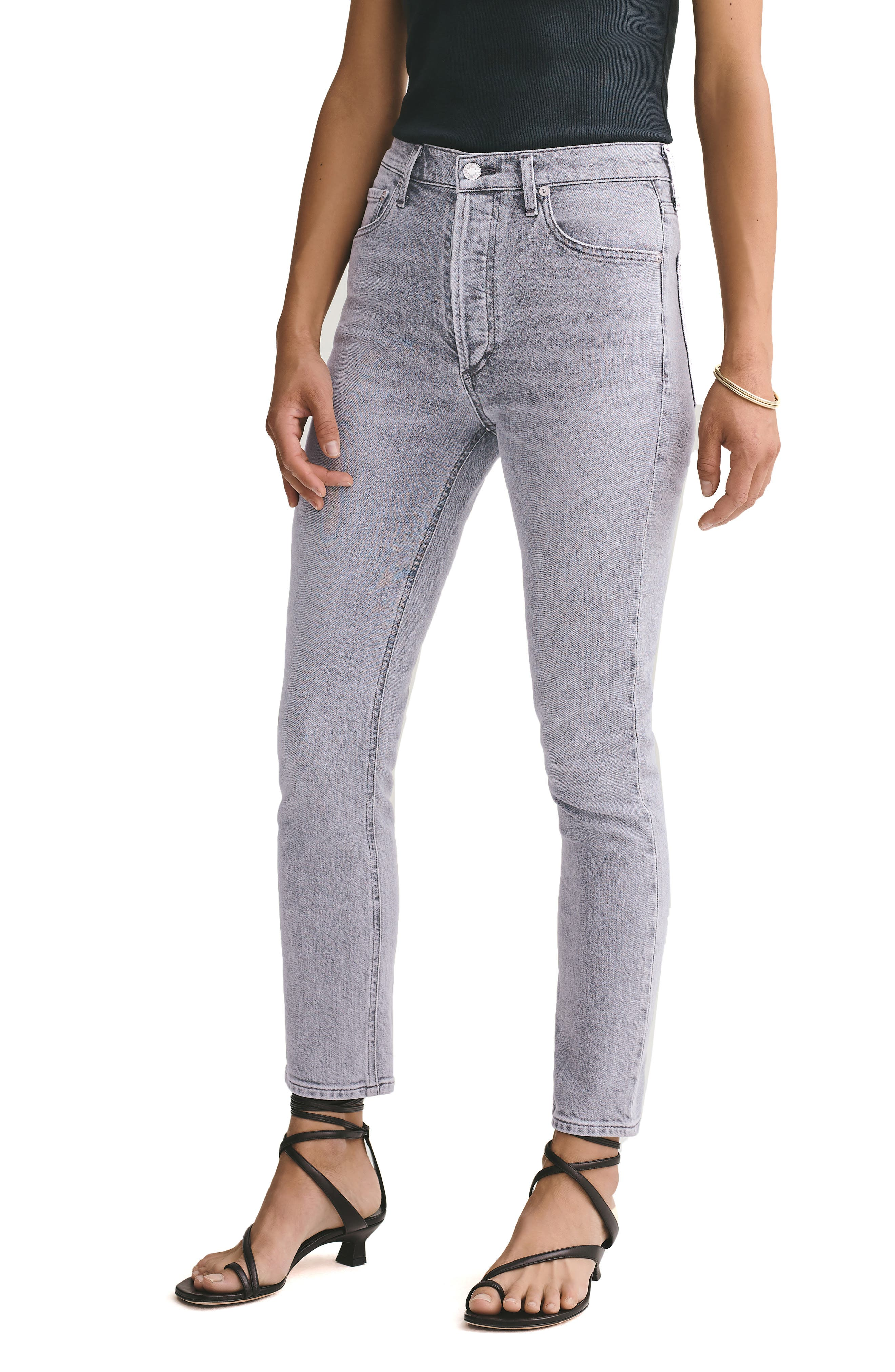 Women's Agolde Nico High Waist Ankle Slim Fit Jeans,  24 - Grey