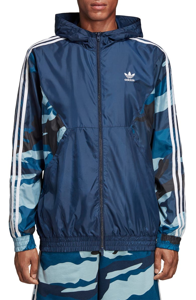 ADIDAS ORIGINALS Camo Hooded Windbreaker, Main, color, COLLEGIATE NAVY