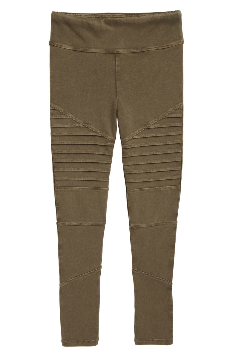 TREASURE & BOND Kids' High Waist Moto Pants, Main, color, OLIVE SARMA WASH