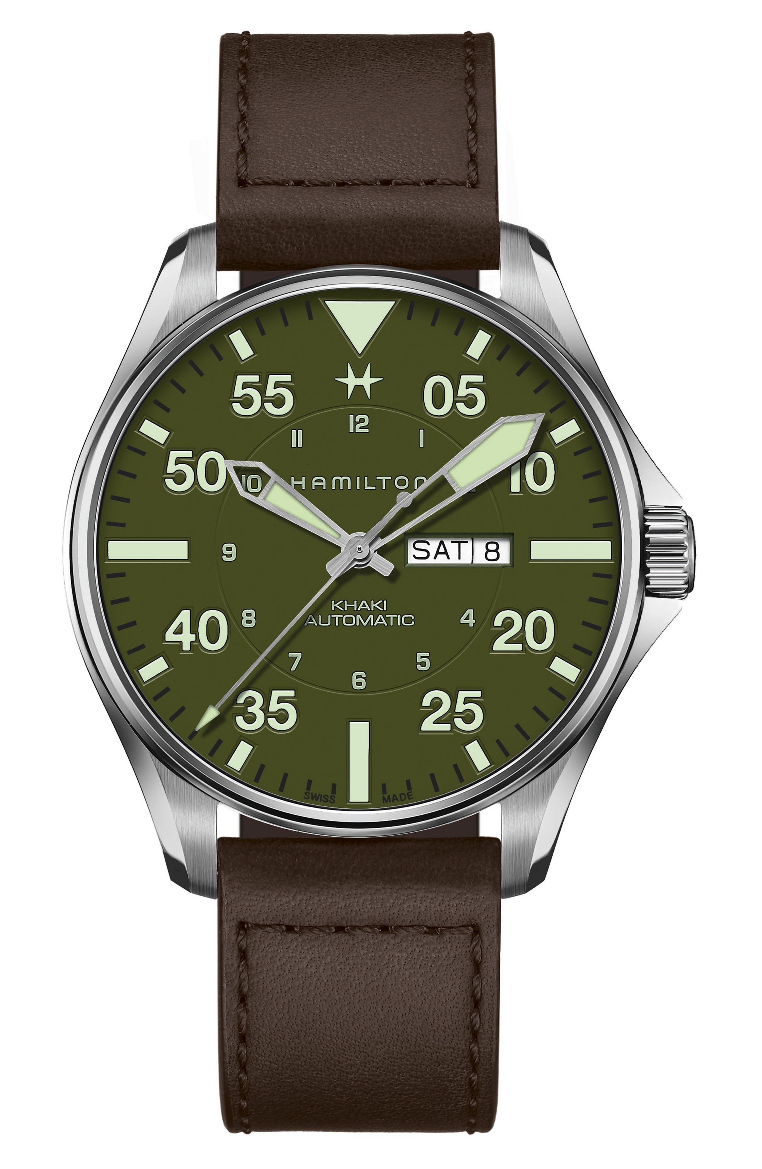 Khaki Aviation Pilot Schott Automatic Leather Strap Watch