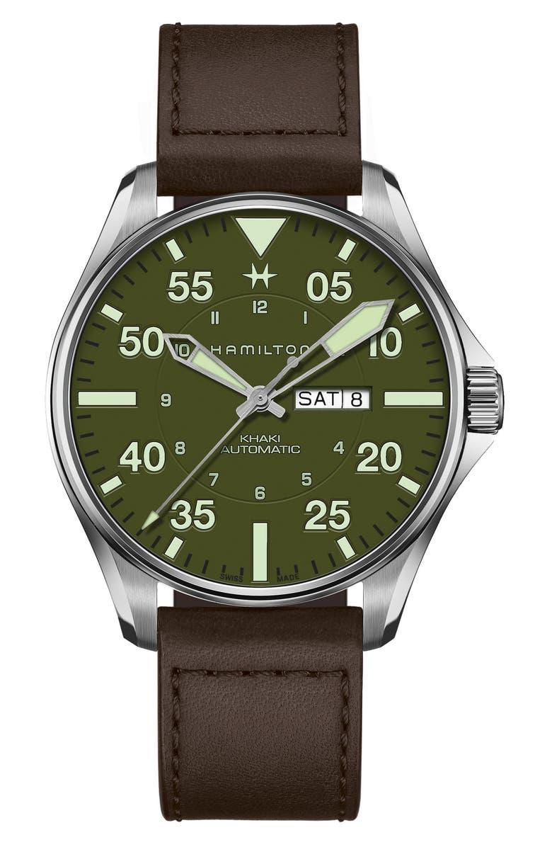 HAMILTON Khaki Aviation Pilot Schott Automatic Leather Strap Watch, 46mm, Main, color, 200