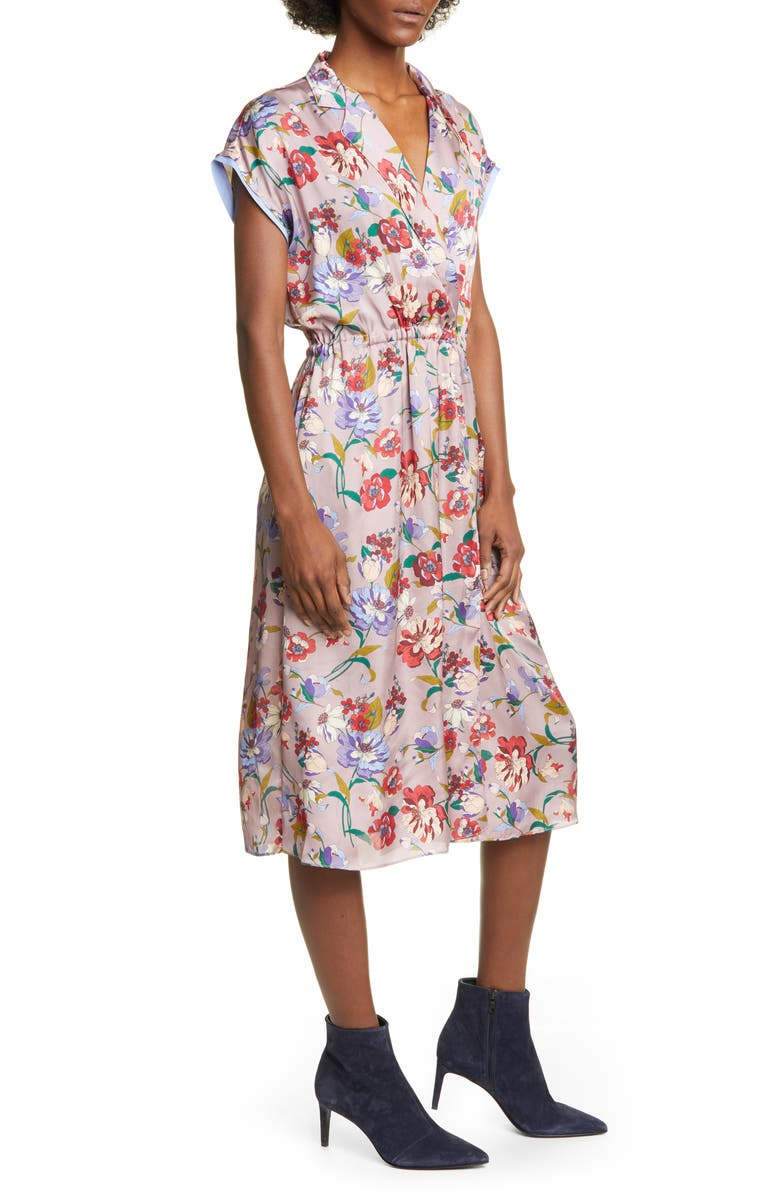 SMYTHE Floral Print Faux Wrap Midi Dress, Main, color, 539