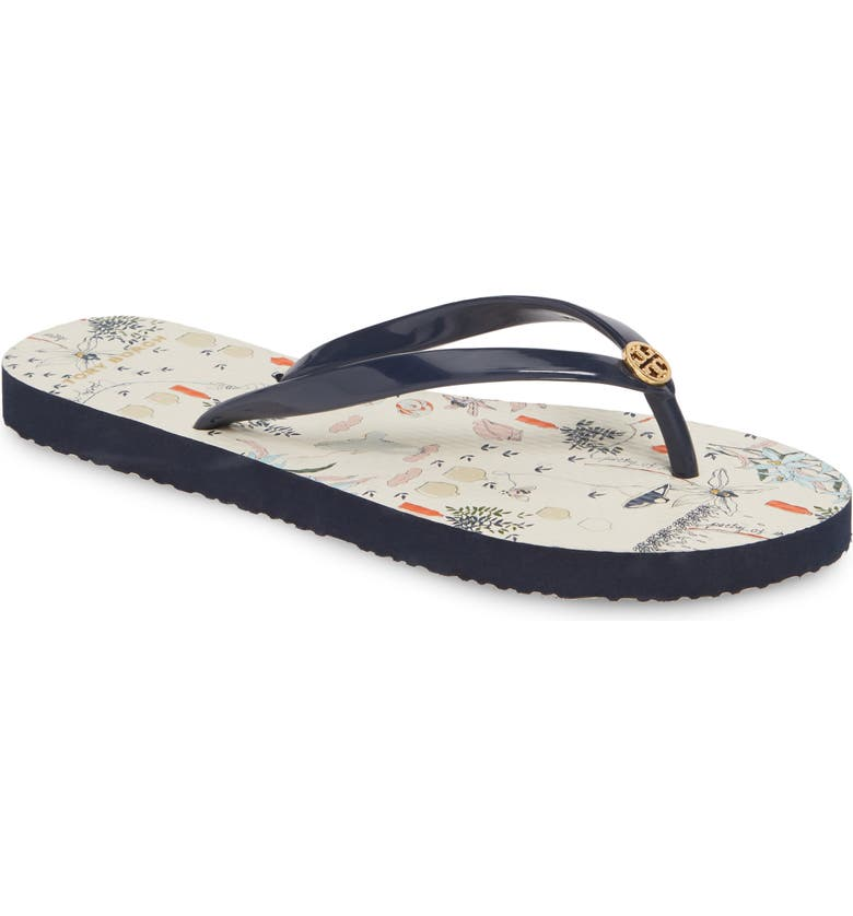 TORY BURCH Thin Flip Flop, Main, color, NAVY/ IVORY POETRY OF THINGS