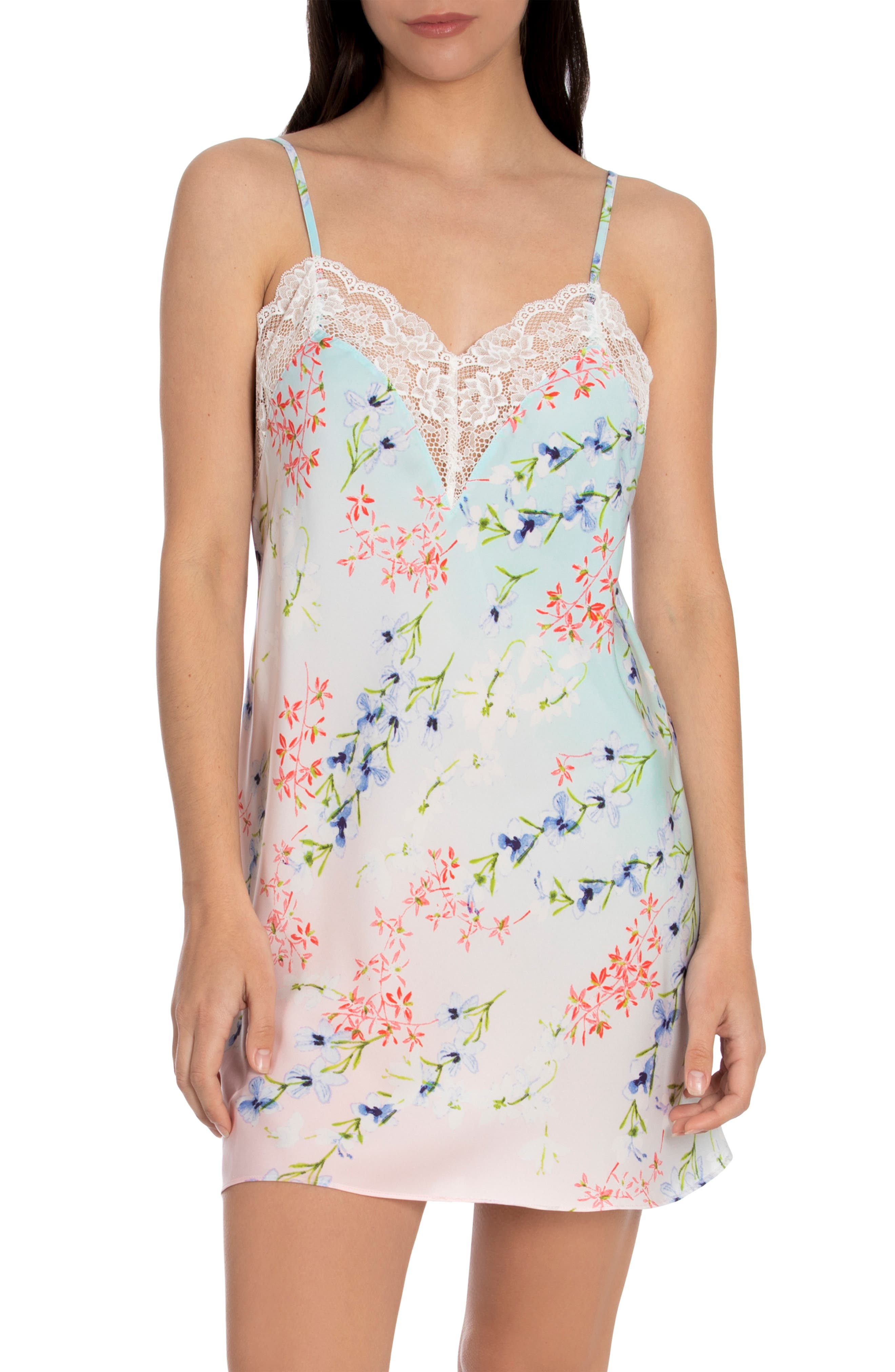 Pearl Floral Satin & Lace Chemise