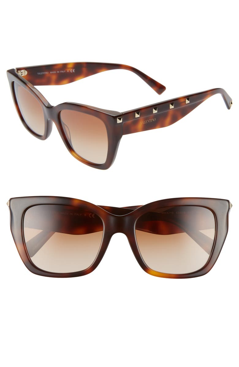 VALENTINO 53mm Rockstud Cat Eye Sunglasses, Main, color, BROWN/ HAVANA