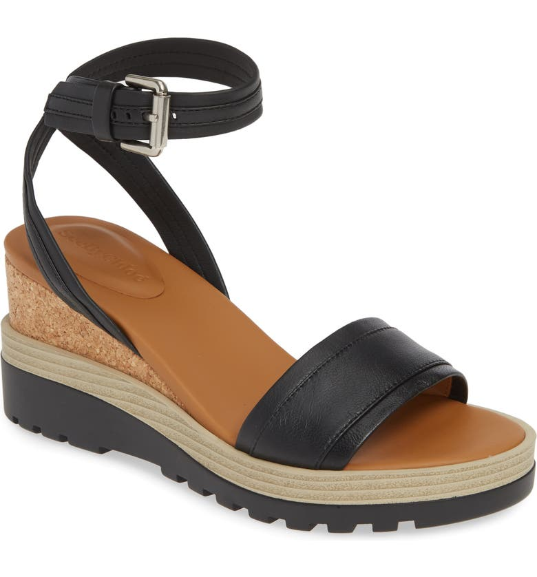 SEE BY CHLOÉ 'Robin' Wedge Sandal, Main, color, BLACK
