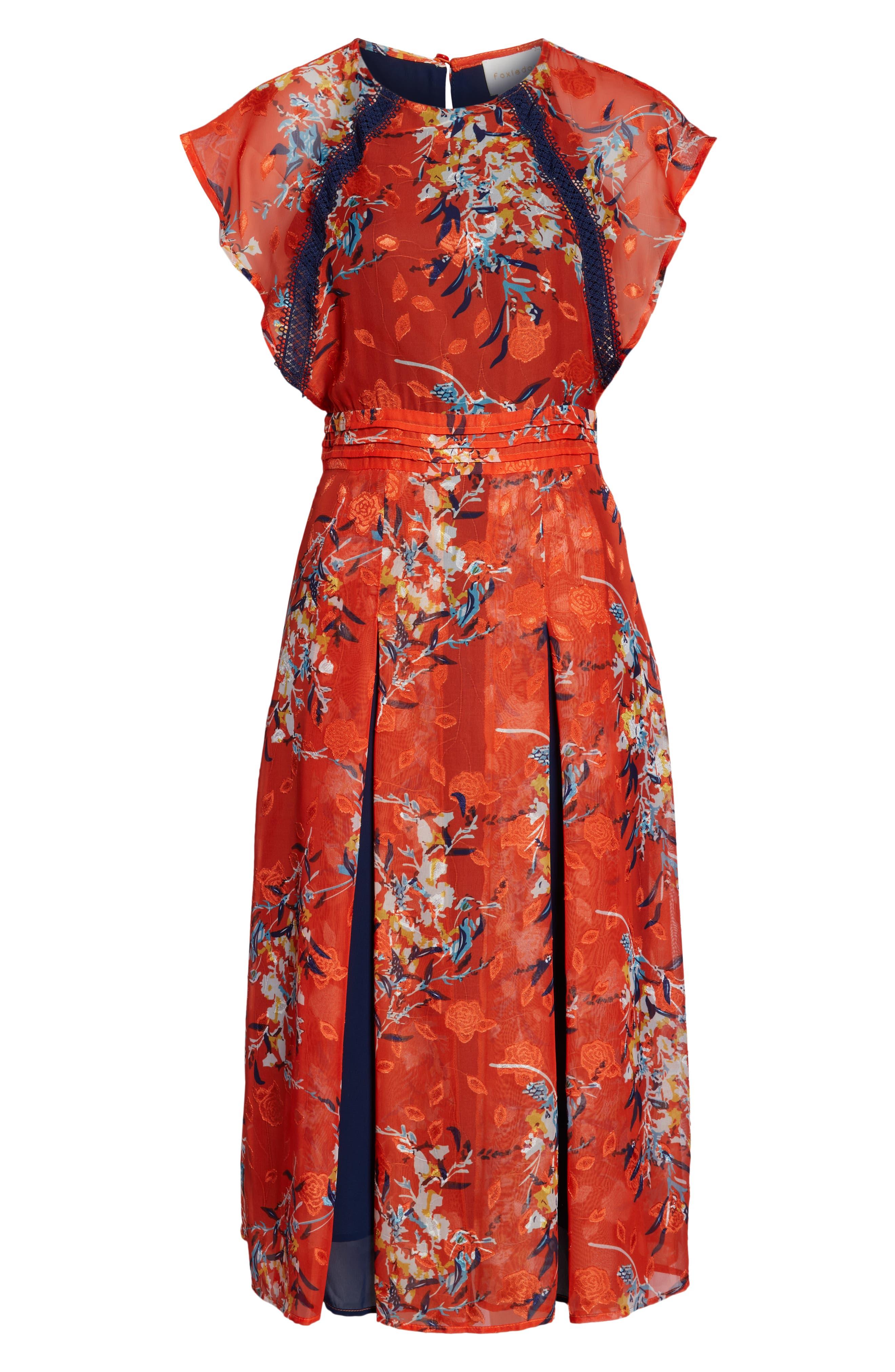 ,                             Olena Godet Flared Dress,                             Alternate thumbnail 7, color,                             ORANGE MULTI