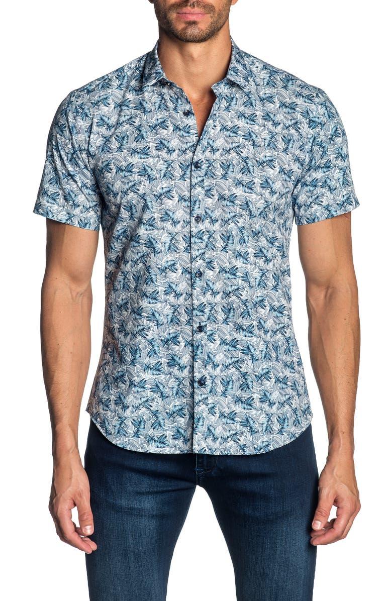JARED LANG Slim Fit Leaf Print Cotton Sport Shirt, Main, color, 020