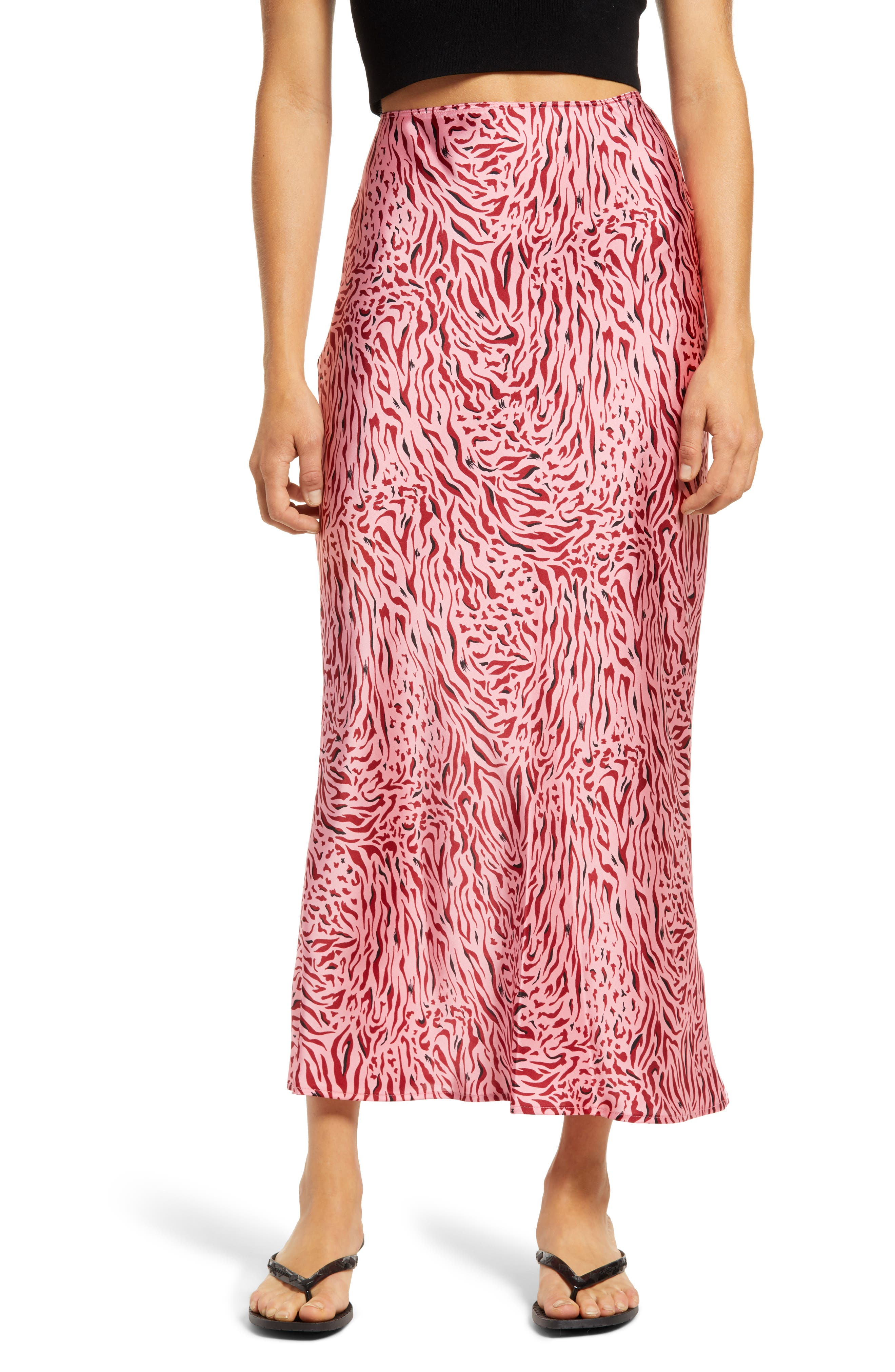 Vibrant zebra stripes embolden a slinky bias-cut skirt that\\\'s begging for a date night. Style Name: Topshop Zebra Bias Skirt. Style Number: 6106215. Available in stores.