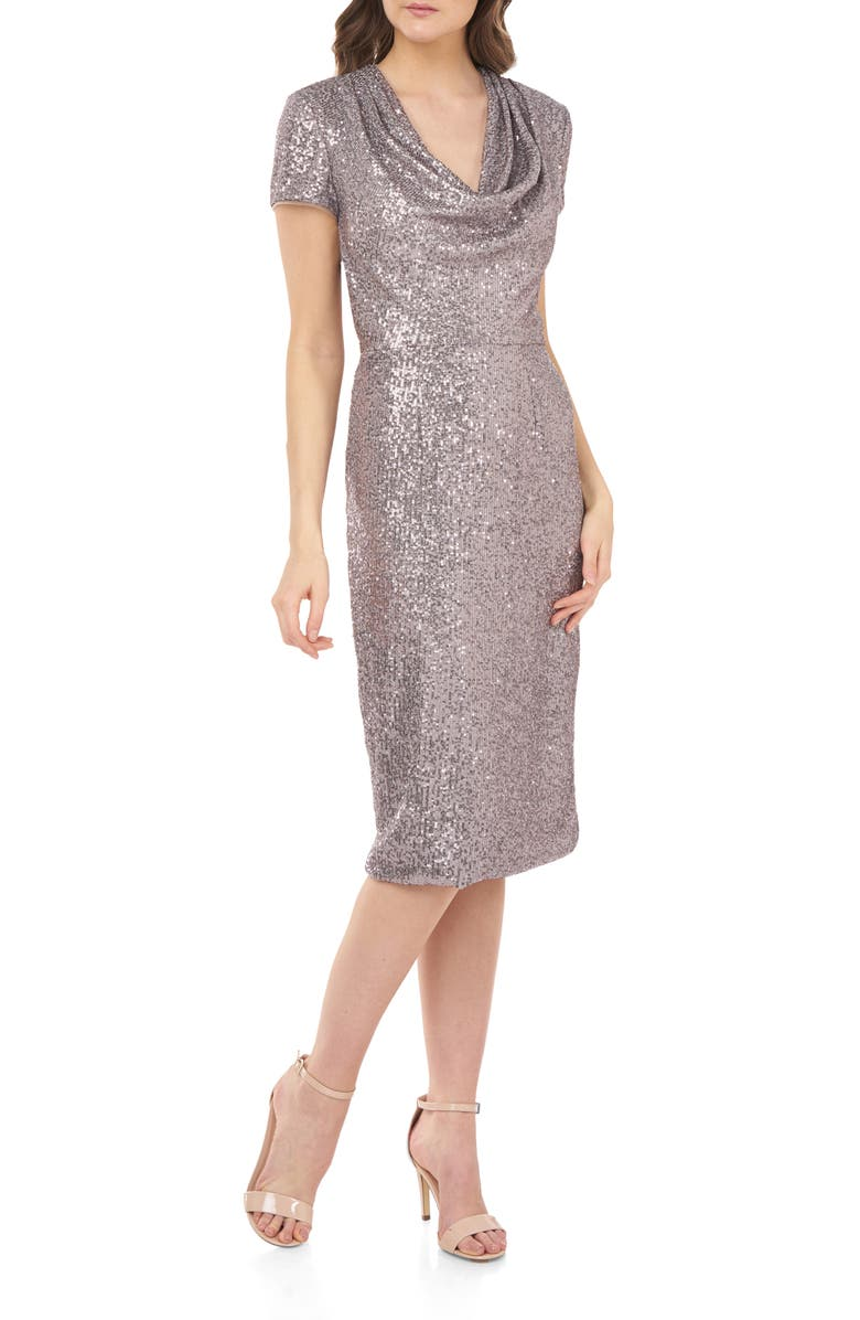 JS COLLECTIONS Cowl Neck Sequin Dress, Main, color, LILAC