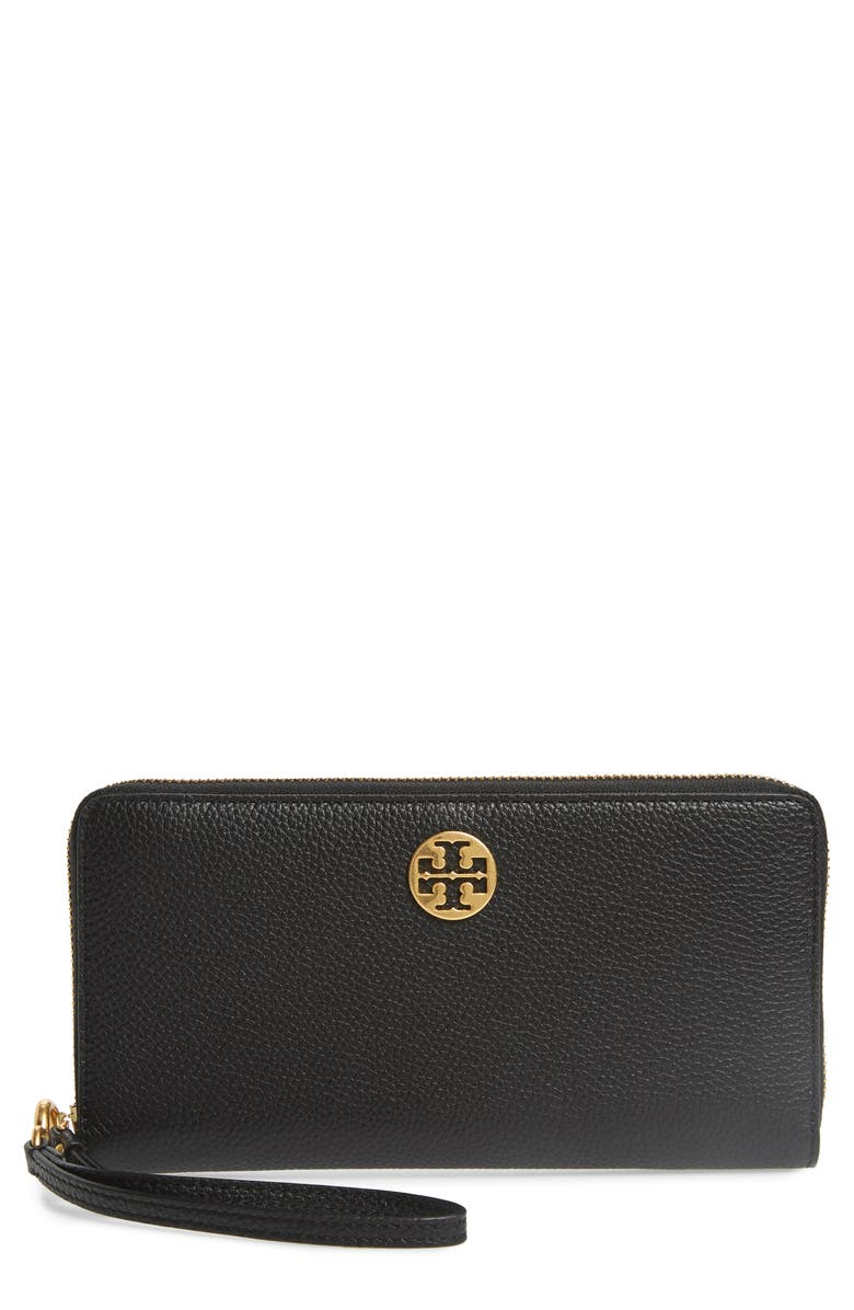 TORY BURCH Everly Leather Passport Continental Wallet, Main, color, BLACK