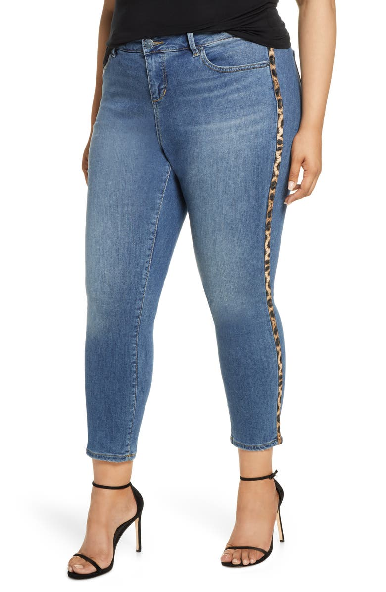 SLINK JEANS Leopard Stripe High Waist Jeans, Main, color, TINA