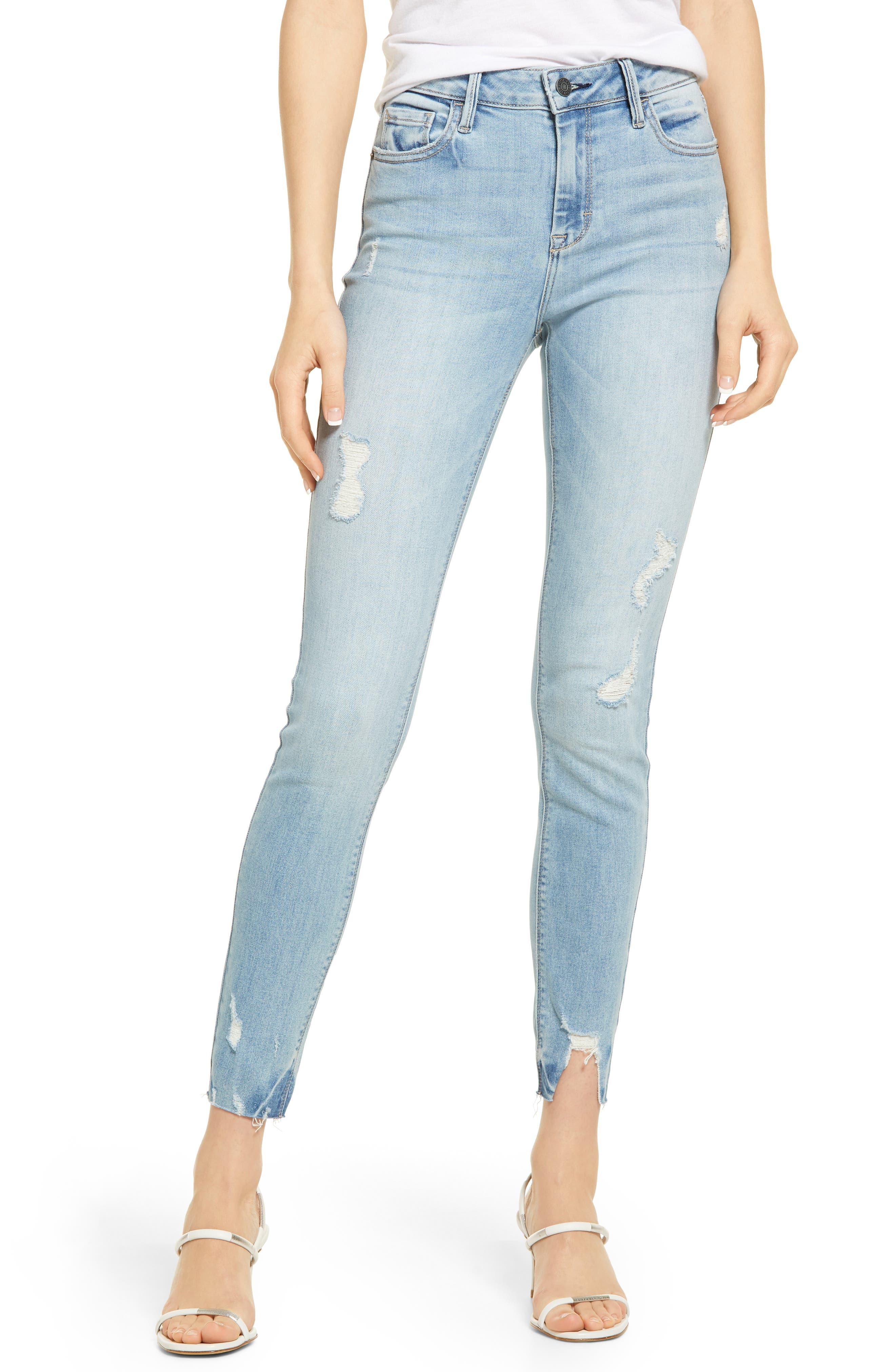 High Waist Grinded Hem Ankle Skinny Jeans