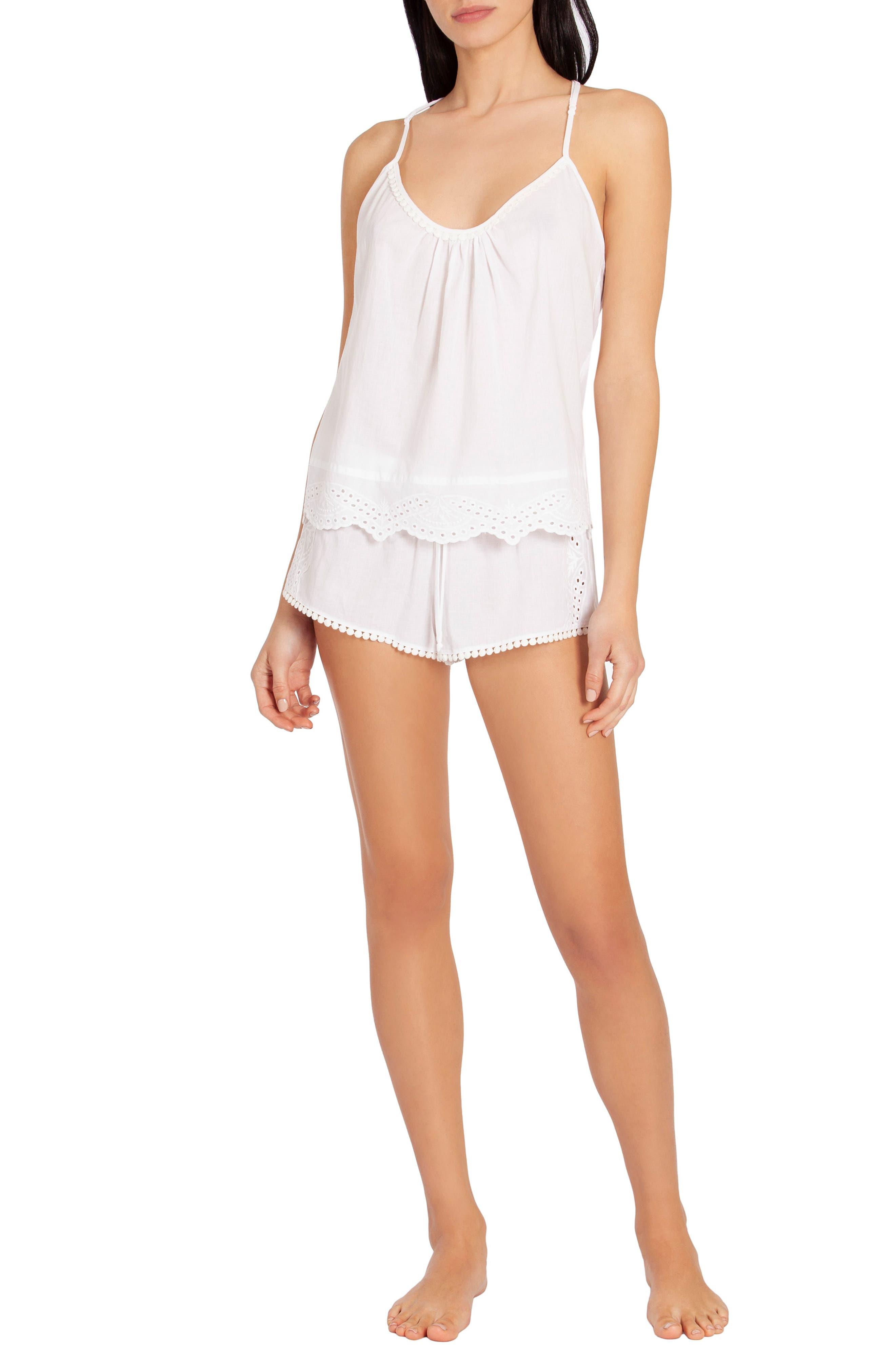 ,                             Eyelet Short Pajamas,                             Alternate thumbnail 6, color,                             WHITE