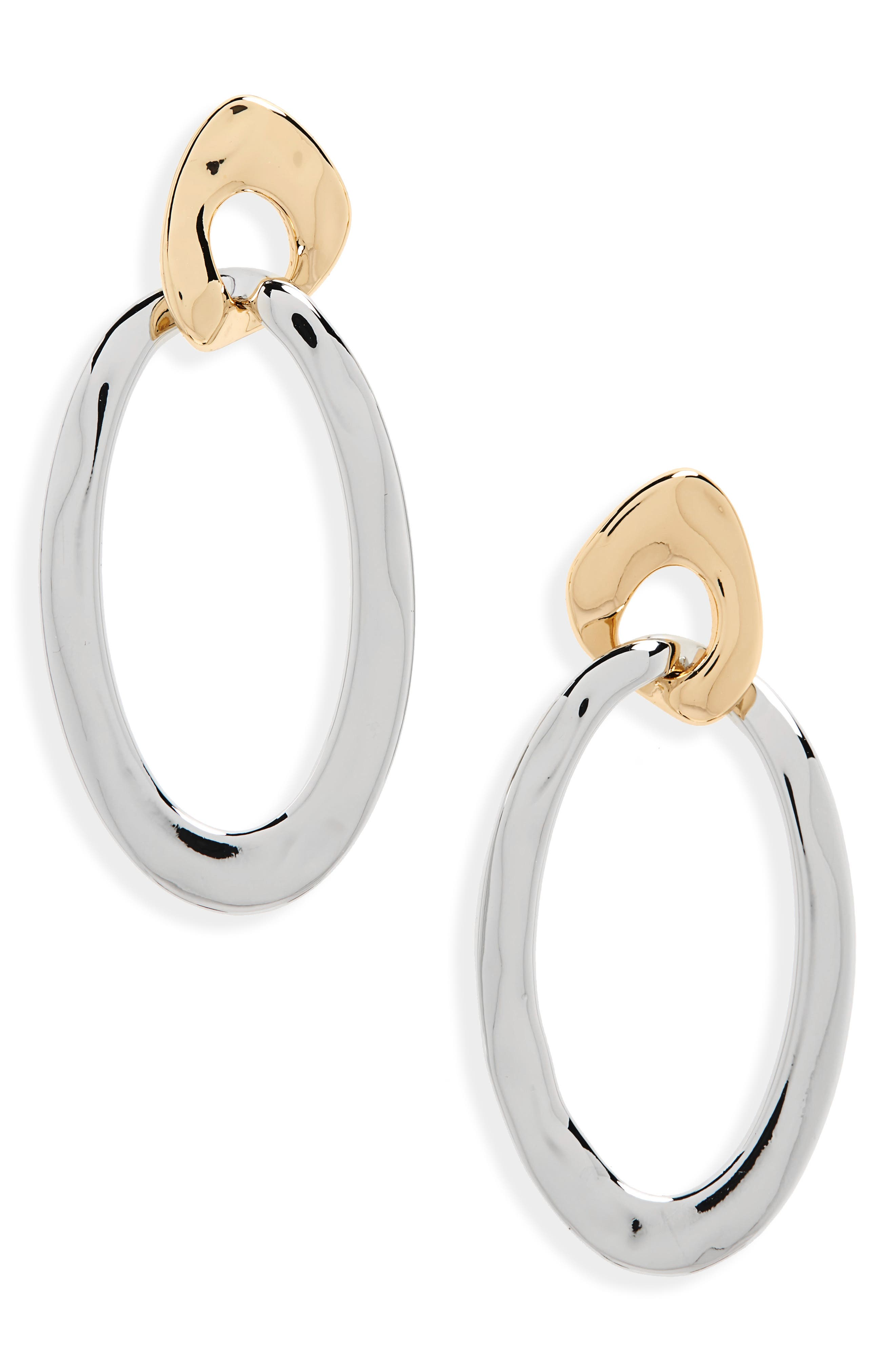 Double Ring Drop Earrings, Main, color, RHODIUM- GOLD