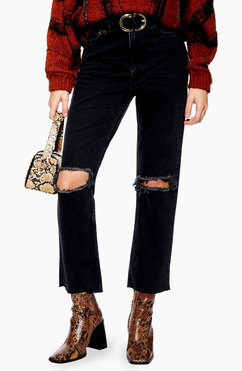 TOPSHOP Ripped High Waist Straight Leg Jeans, Main, color, 003
