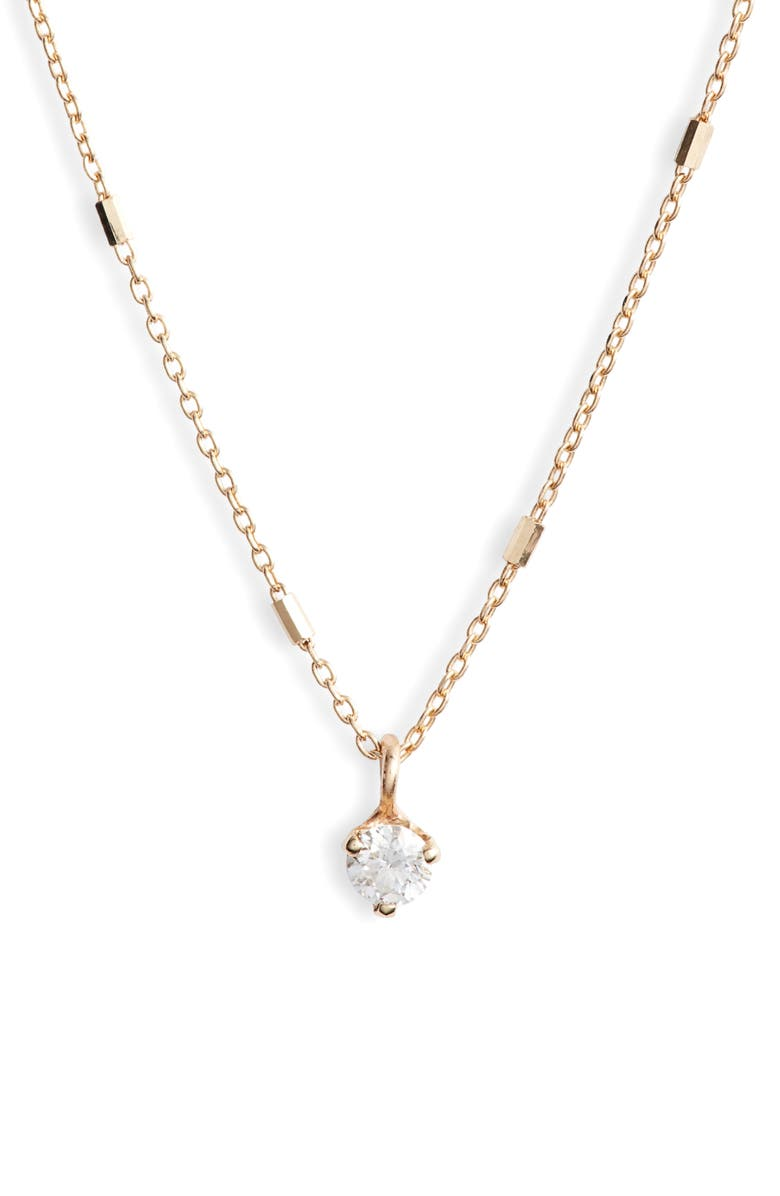 ZOË CHICCO Bar & Cable Diamond Pendant Necklace, Main, color, YELLOW GOLD